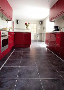 gloss red Kitchen with Graphite Floor