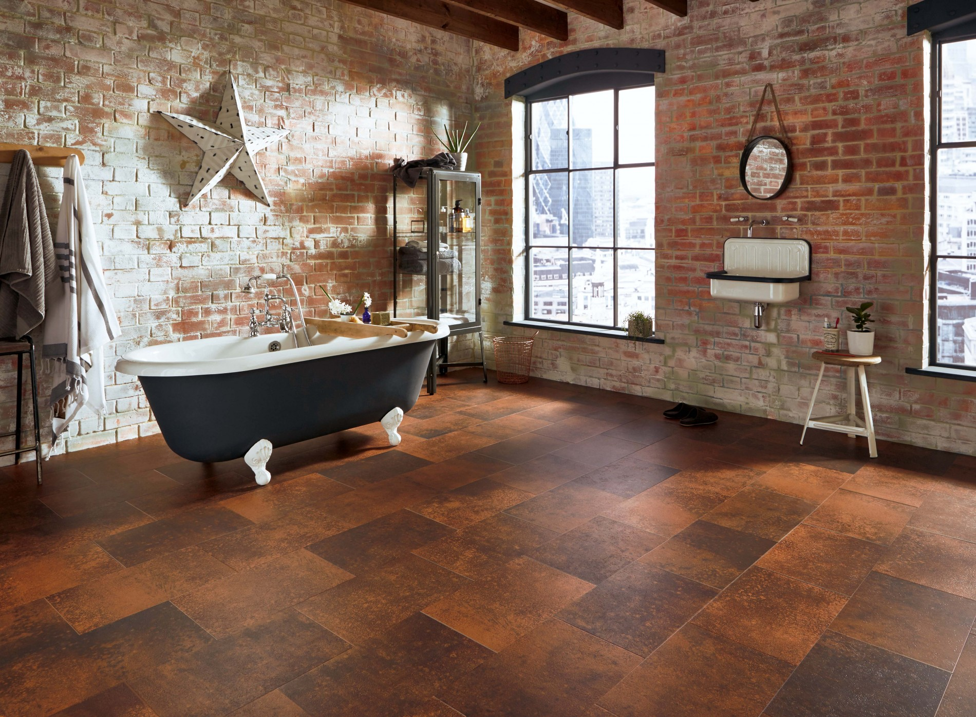 contemporary rustic Bathroom floor tiles